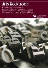 Arts Week Book Launch brochure - School of History - Queen Mary ...
