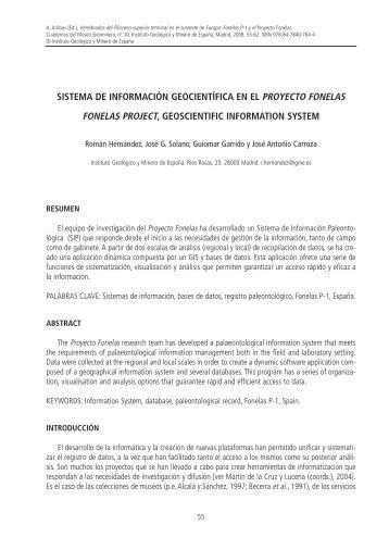 sistema de información geocientífica - Instituto Geológico y Minero ...
