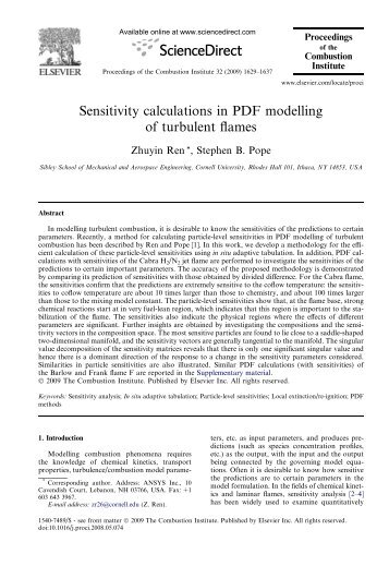 Sensitivity calculations in PDF modelling of turbulent flames