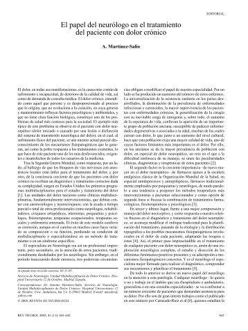 El papel del neurólogo en el tratamiento del paciente con dolor ...