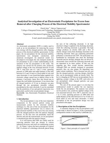 Analytical Investigation of an Electrostatic Precipitator for Excess ...