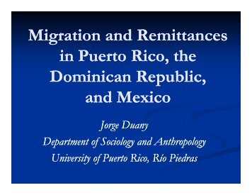 Migration And Remittances In Puerto Rico, The Dominican