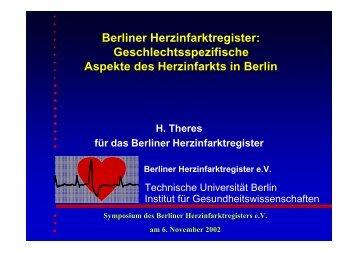 Berliner Herzinfarktregister: Geschlechtsspezifische Aspekte des ...