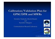Calibration/Validation Plan for GPM/DPR and MWRs