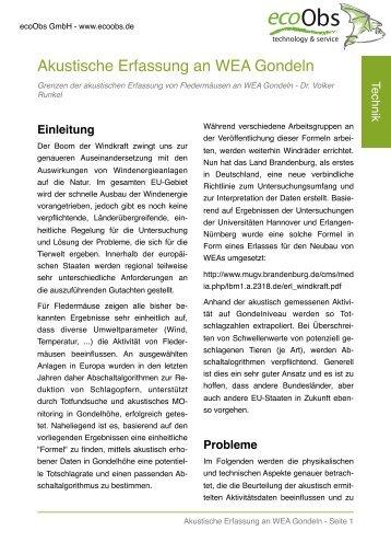 Akustische Erfassung an WEAs - ecoObs GmbH