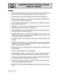 EDFL Code of Conduct - Coaches - Essendon District Football League