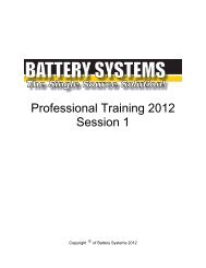 Professional Training 2012 Session 1 - Battery Systems