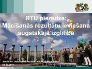 RTU pieredze: Mācīšanās rezultātu ieviešana augstākajā izglītībā