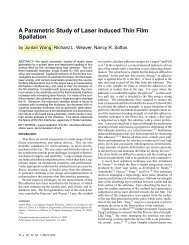 A Parametric Study of Laser Induced Thin Film Spallation - Sottos ...