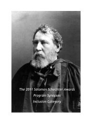The 2011 Solomon Schechter Awards Program Synopses Inclusion ...