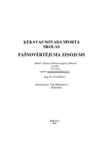 ekavas novada sporta skolas pašnovērtējuma zi ojums