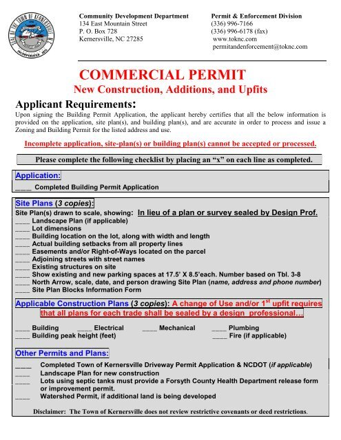 Commercial Building Permit Application - Town of Kernersville