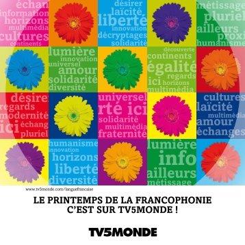 Programme du Printemps de la francophonie - TV5 Monde