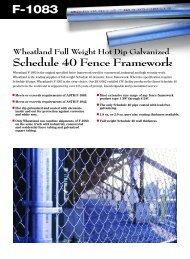F-1083 Schedule 40 Fence Framework - Wheatland Tube