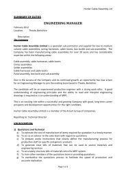 engineering manager - Hunter Cable Assembly