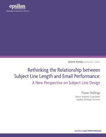 Rethinking the Relationship between Subject Line Length ... - Epsilon