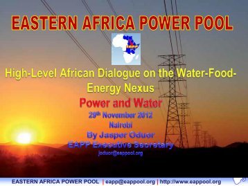 eastern africa power pool - The Water, Energy and Food Security ...