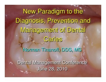 Diagnosis, Prevention, and Management of Dental ... - Dmcnet.org