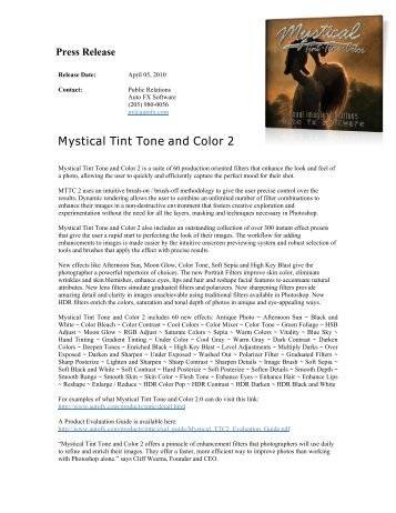 Features in Mystical Tint Tone and Color 2 - Auto FX Software