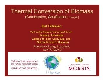 Thermal Conversion of Biomass - AURI