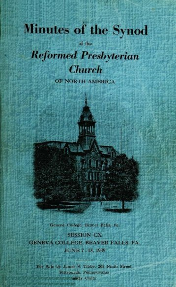 Reformed Presbyterian Minutes of Synod 1939 - Rparchives.org