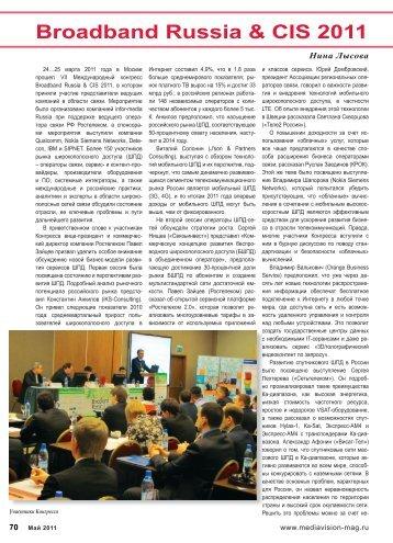 Broadband Russia & CIS 2011 - MediaVision Mag