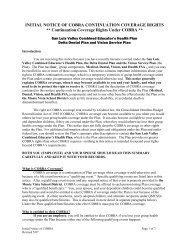 Initial COBRA Notice - Monte Vista School District