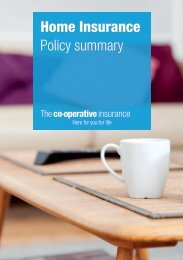 Home insurance summary of cover - The Co-operative Insurance