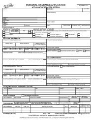 PERSONAL INSURANCE APPLICATION - ACORD Forms