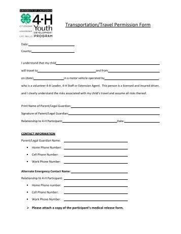 Transportation/Travel Permission Form - Lassen County