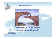 Toleranz – Brücke in die gemeinsame Zukunft - Hanse Parlament