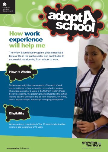 How work experience will help me - Northern Territory Schools