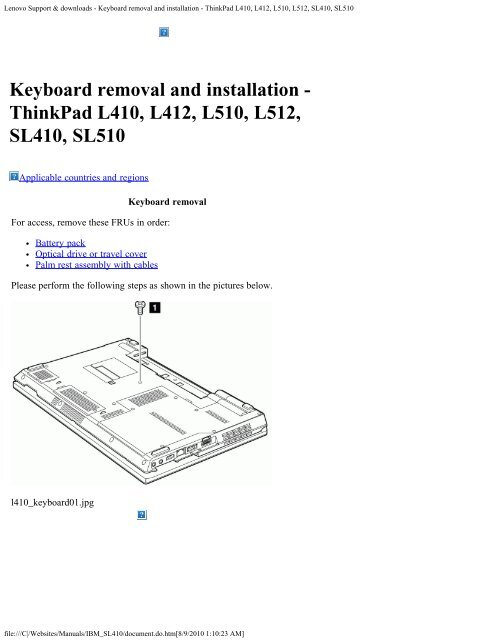 Lenovo Support & downloads - Keyboard removal and     - Laptop King