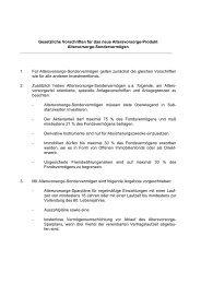 Gesetzliche Vorschriften für das neue Altersvorsorge-Produkt ...