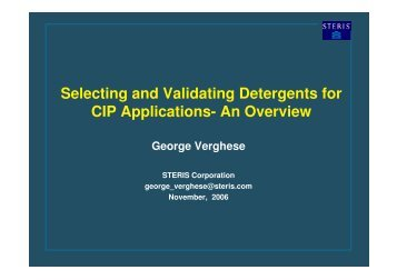 Selecting and Validating Detergents for CIP Applications- An ... - A3P
