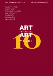 Geschäftsbericht 2008/2009 der Theaterservice GmbH ... - Art for Art