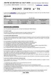 Point info n° 70 - juin 2006 - Cdg68.fr