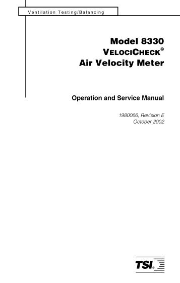 VelociCheck Model 8330 and 8340 Air Velocity Meters