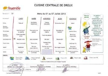 Menu des cantines - Juillet 2013 - Dreux.com