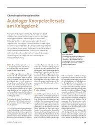 Autologer Knorpelzellersatz am Kniegelenk - Orthopädisches ...