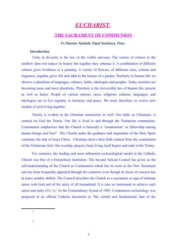 EUCHARIST: - Archdiocese of Ernakulam-Angamaly