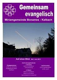 Gemeindebrief Mai / Juni 2013 - Miriamgemeinde Frankfurt