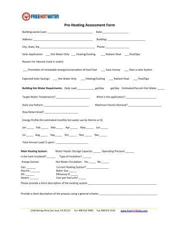 Pre training assessment form 2012layout 1 anglo continental pre heating assessment form free hot water fandeluxe Image collections