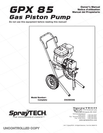 GPX 85 Gas Piston Pump - Wagner USA [Paint Sprayers, HVLP ...