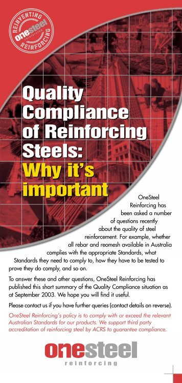 Quality Compliance of Reinforcing Steels: Why it's ... - OneSteel