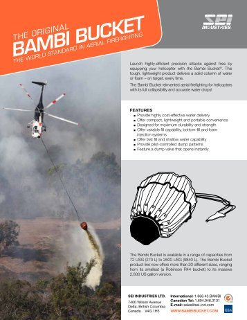 Bambi Bucket (Standard Valve) Brochure - SEI Industries Ltd.