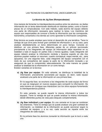 LAS TECNICAS COLABORATIVAS, UNOS EJEMPLOS La ... - UNAM