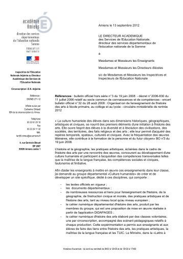 Circulaire IA - Lettre d'informations