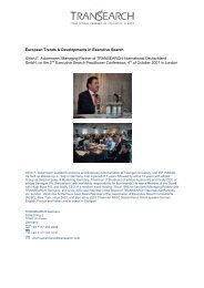 European Trends & Developments in Executive Search Ulrich F ...