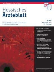 Hessisches Ärzteblatt November 2011 - Landesärztekammer Hessen